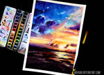 Watercolor Painting - Sunset