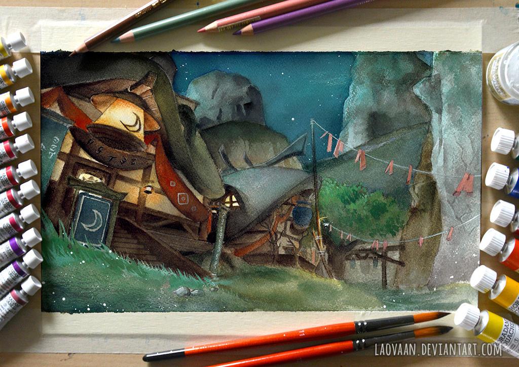 Zelda Breath of the Wild - Kakariko Village by Laovaan