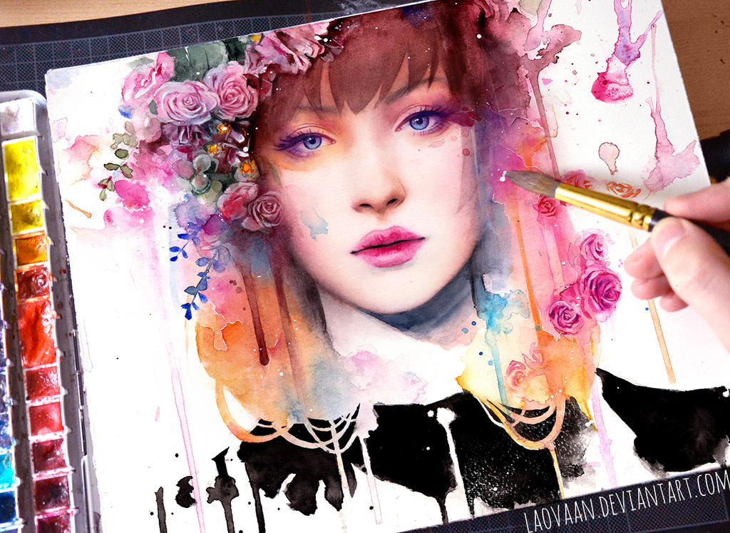 Watercolor Portrait - Petal by Laovaan