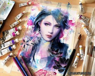 Watercolor Portrait - Gwen by Laovaan