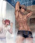 Ian taking a shower