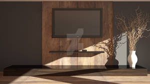 Wall Shadow With Wood And Tv