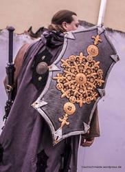 Damast thorn cloak coat hoody - leather works 2 by SchmiedeTraum