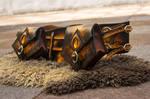 Amber elven / elf leather bag for the waistbelt