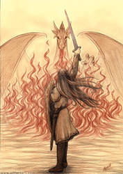 Elf vs Dragon by siffert