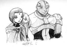 Raven and Cyborg sketch by Happy-R