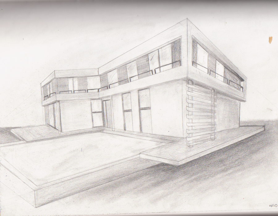 Two point perspective house pictures to pin on pinterest for Modern house 2 point perspective