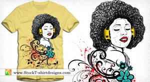 Vector Art T-shirt Design with Singing Girl