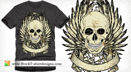 Vector T-shirt Design with Winged Skull and Banner
