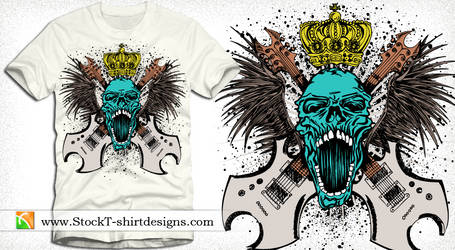 Rock Music Skull with Guitars, Wings and Crown