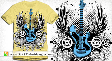 Winged Guitar with Floral and Speakers Vector Tee