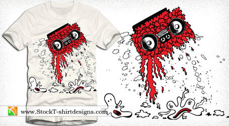 Music T-shirt Design with Cassette, Cartoon Bubble