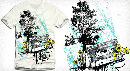 Music T-shirt Design with Cassette, Tree, Flowers