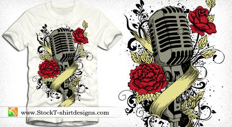 Music T-shirt Design Microphone, Flowers, Ribbon
