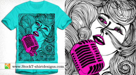 Beautiful Girl Singing on a Microphone T-shirt Art