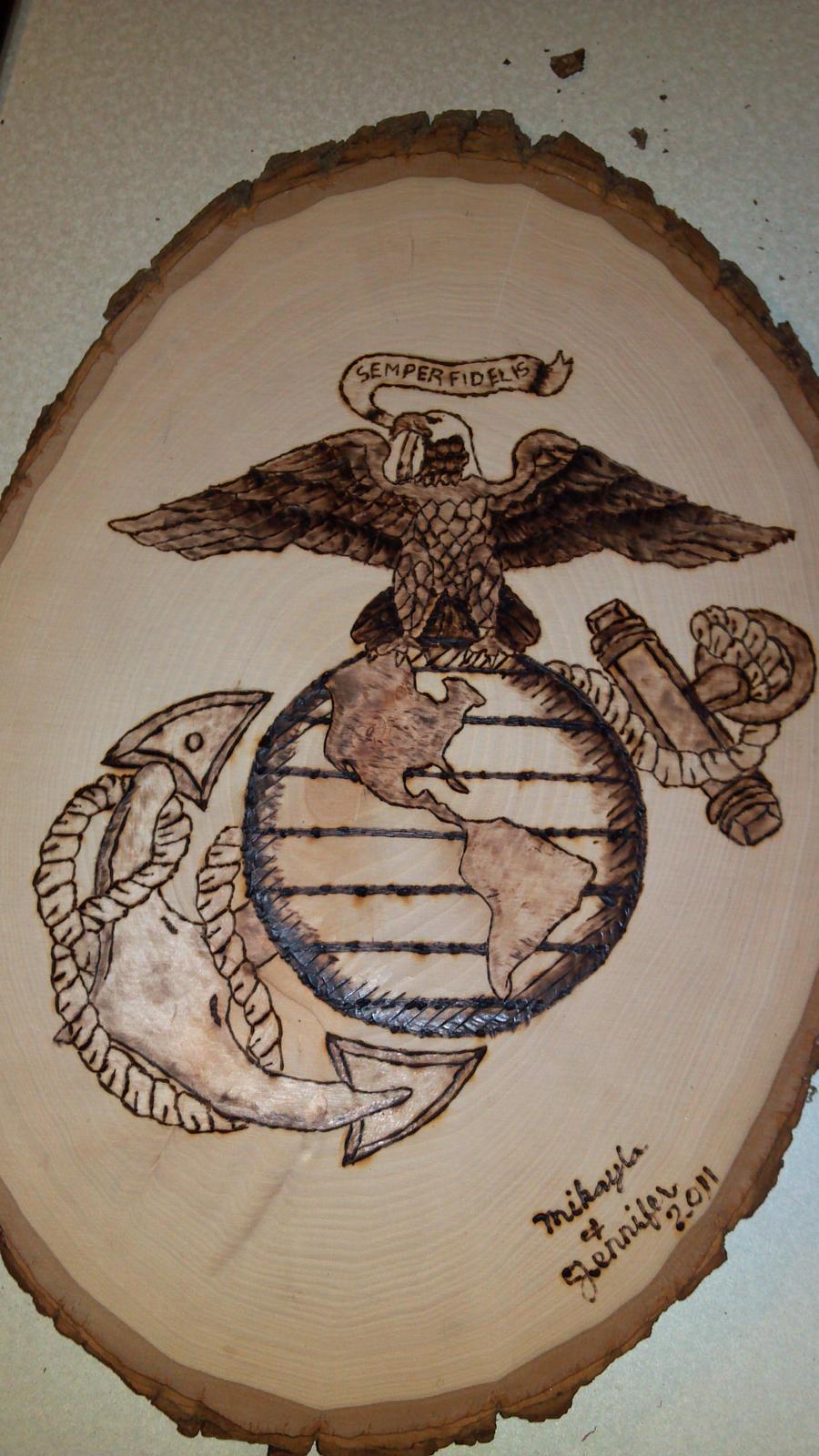 Marine Corps Woodburning by Wolf-Animator on DeviantArt