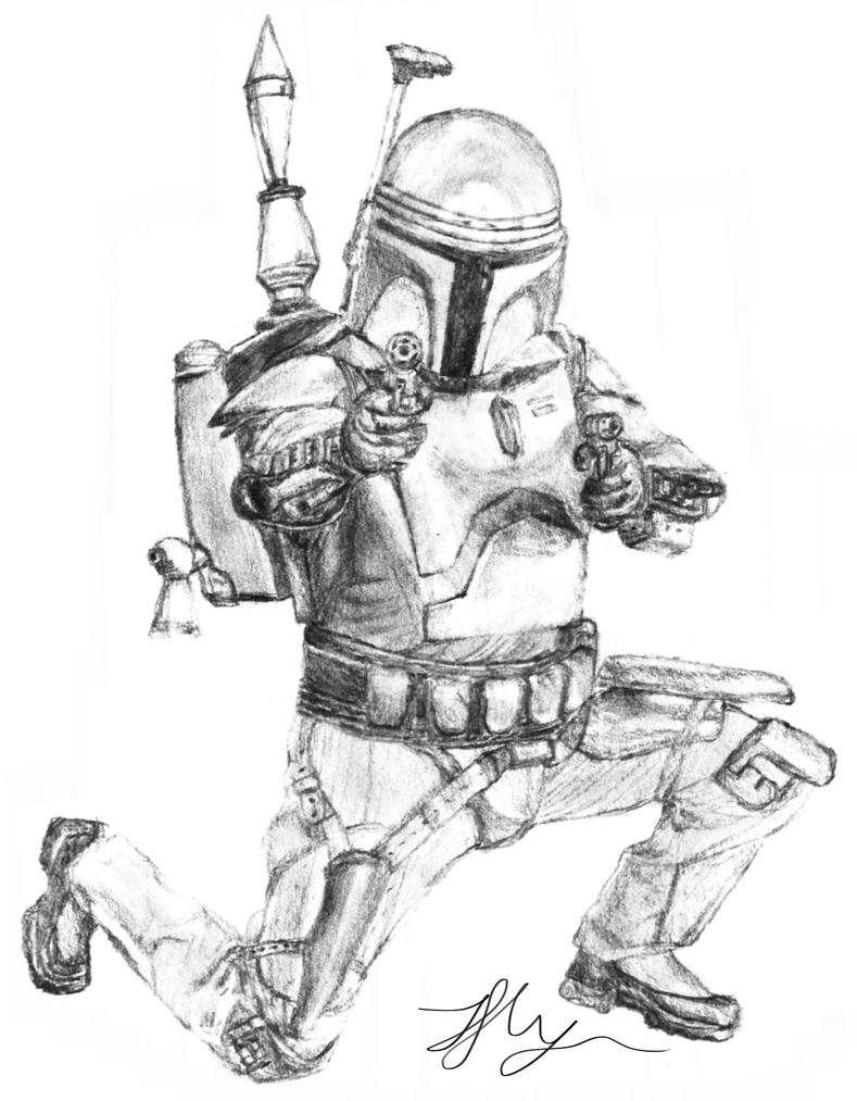 Pin jango fett is staring at the enemy star wars coloring for Jango fett coloring pages