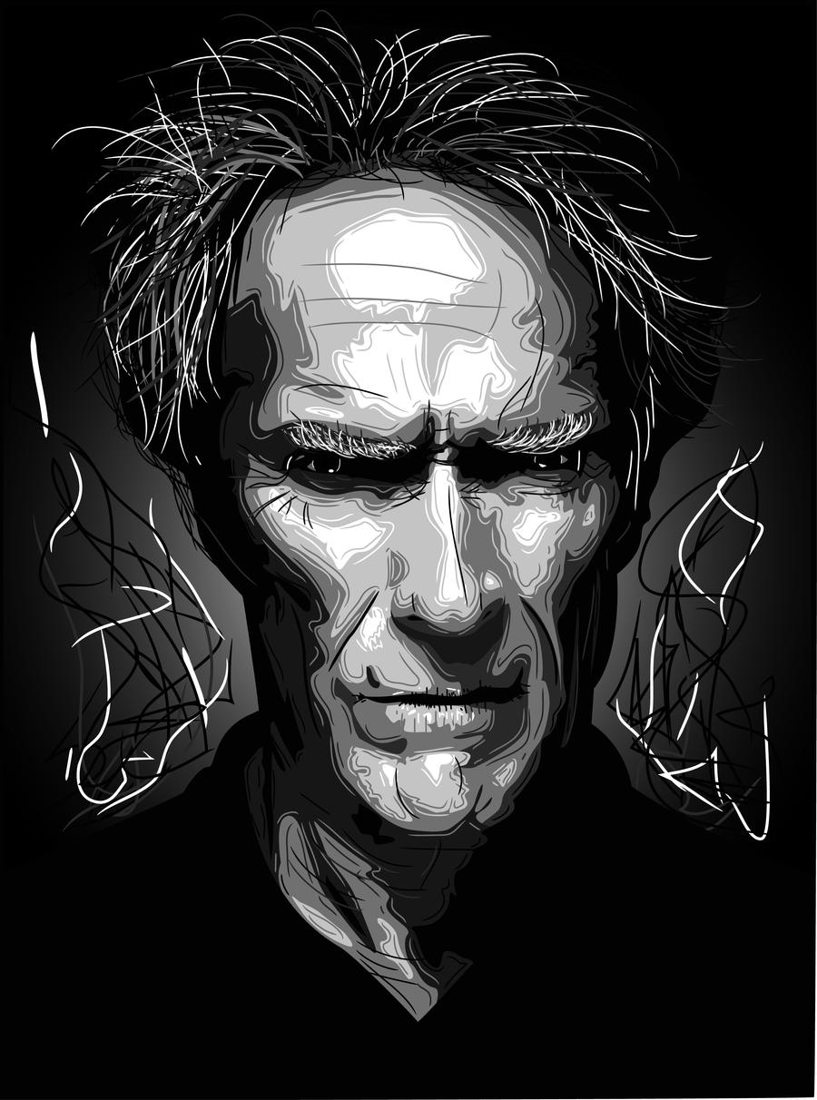 Clint Eastwood Vector Portrait by Smclachlan