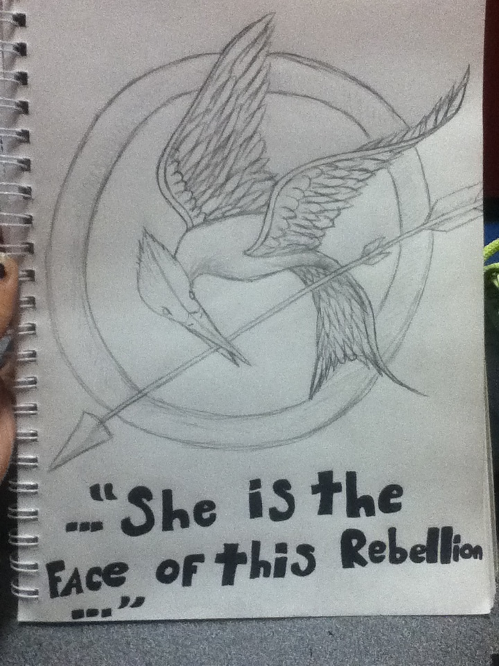 Mockingjay pin sketch by phoenix-cosplayer