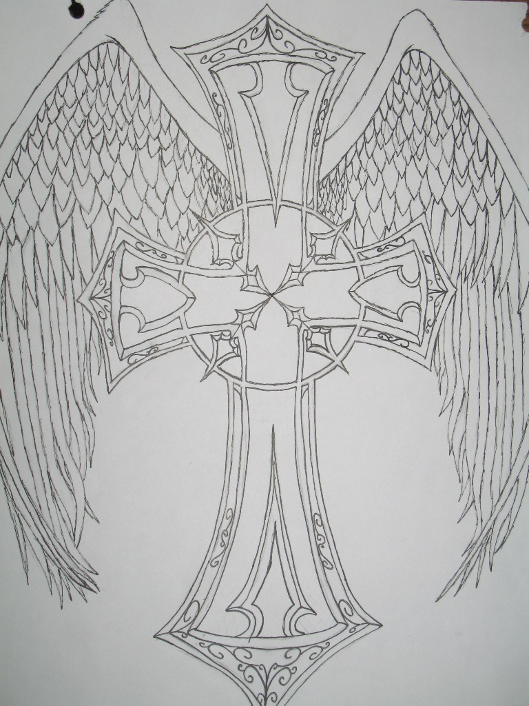Cross with Angel Wings Tattoo
