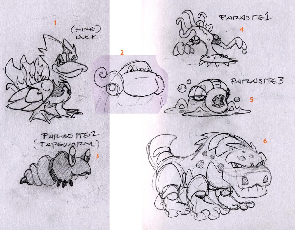 Terra Monsters - Sketch Dump 7 by TerryTibke