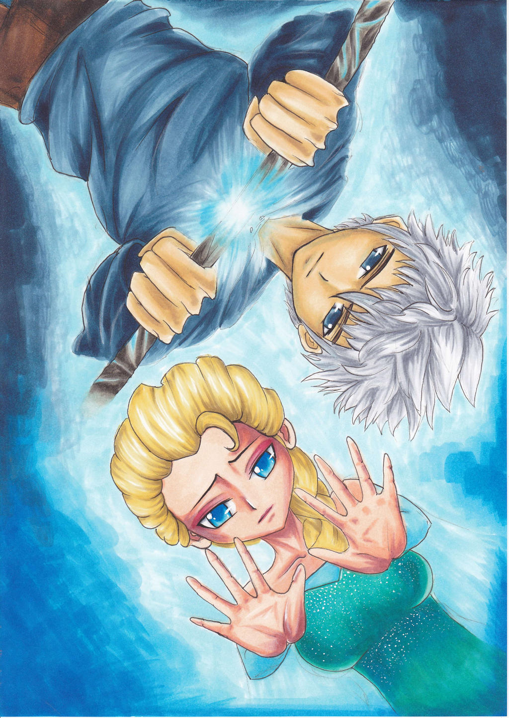 Elsa and Jack Frost-Frozen and Rise of the Guardia by KilluaZoldyck-Hunter