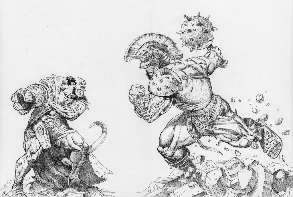 Hellboy Vs Hulk by pagandevil
