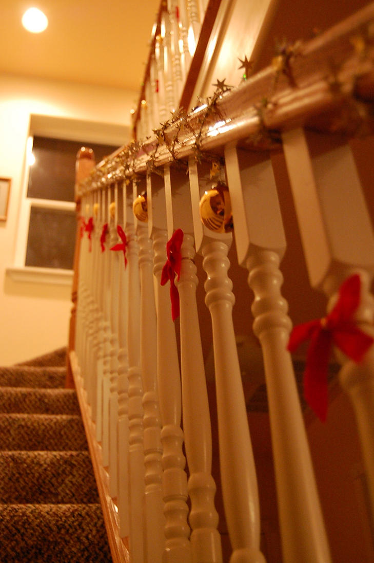 Decorated banister christmas by elijahsrevenge on deviantart for How to decorate a banister