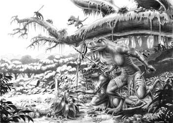 Reptilefolk - black and white version