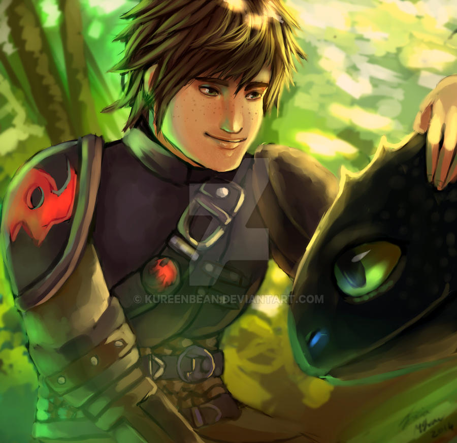 Hiccup and Toothless by Bluemisti