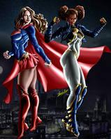 Supergirl and new Powergirl by EVANDROJHOZER