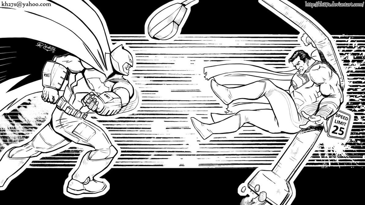 Batman v Superman - Inks by kh27s