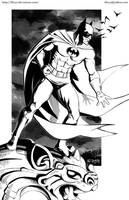 Batman on a Gargoyle - Inks by kh27s
