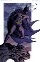 Batman on a Gargoyle by kh27s