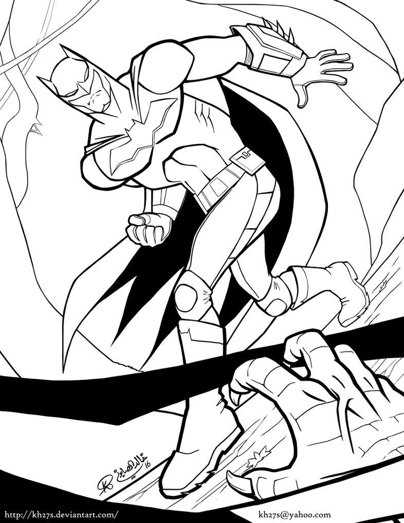 Batman vs Killer Croc - Inks by kh27s