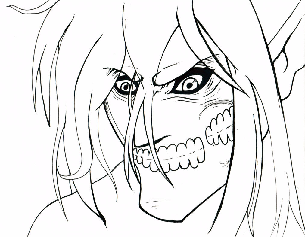 Eren Titan Line Art By BloodyRose11 On DeviantArt