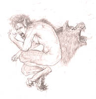 werewolf pencil sketch by atomsanddust