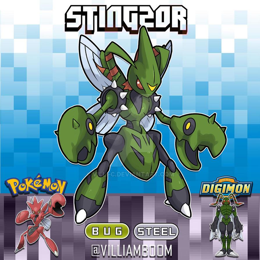 STINGMON X SCIZOR by villi-c