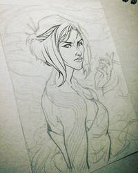 Tonal Paper Character Concept Sketch (wip)