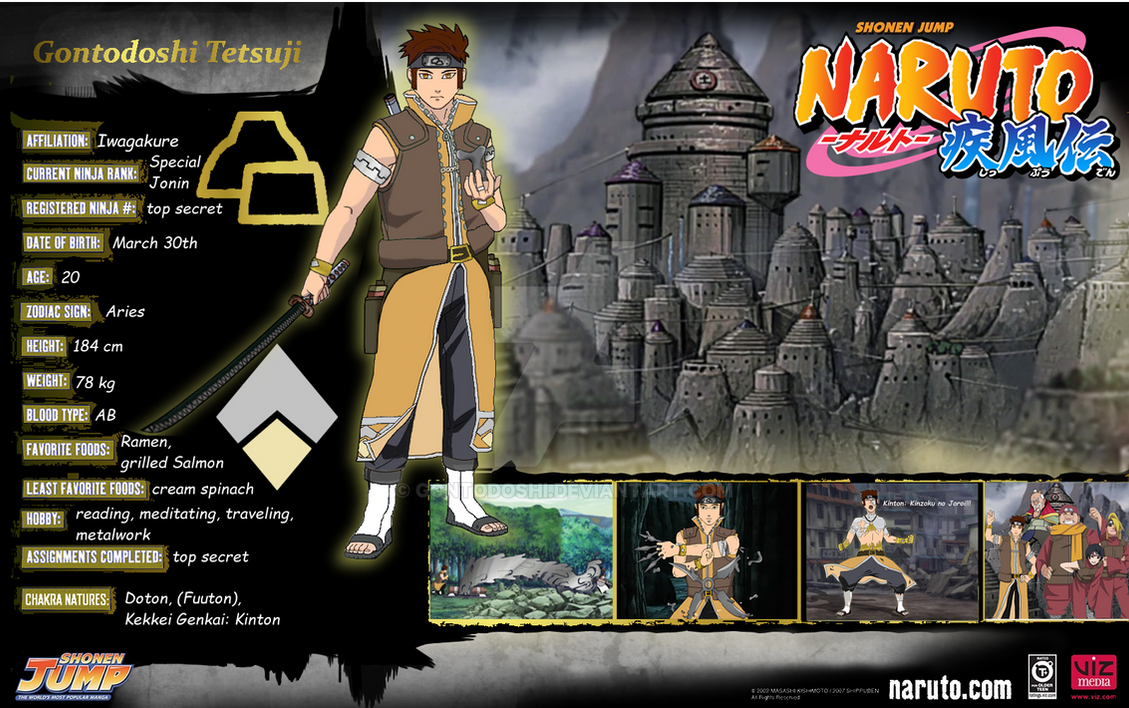 Naruto OC character sheet Gonto by Gontodoshi