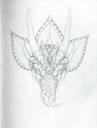 Zentangle dragon head from front