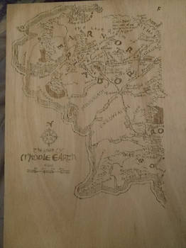 WIP Pyrographied Middle Earth Map