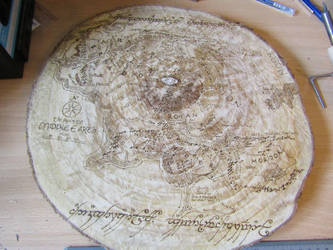 Middle Earth Map + One Ring text pyrography