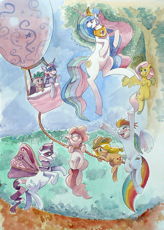 Watercolor Ponies by kevinsano