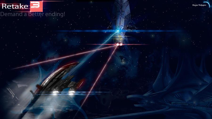 Retake Mass Effect 3 : Harbinger vs Normandy by HingjonWallpapers