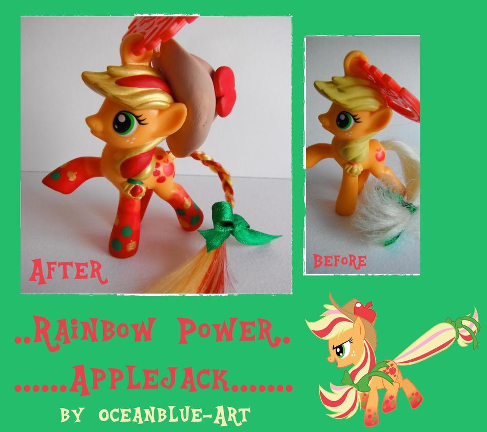 Rainbow Power Applejack Doll Repaint by Oceanblue-Art