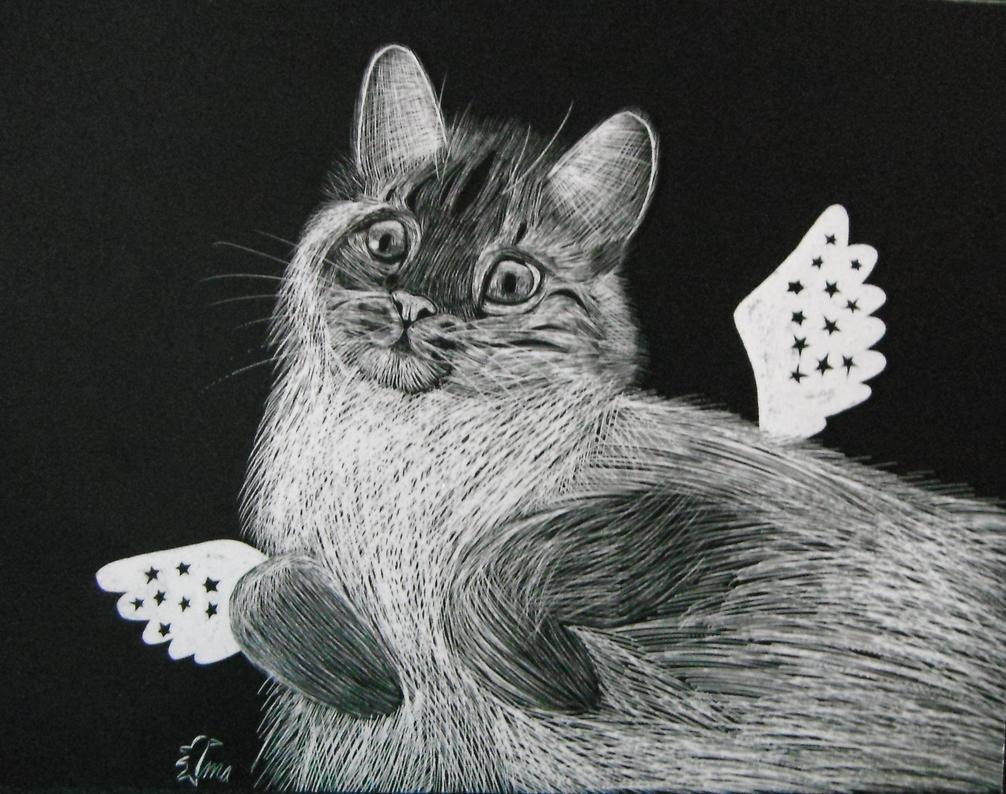 Scratchboard Kitteh by Oceanblue-Art