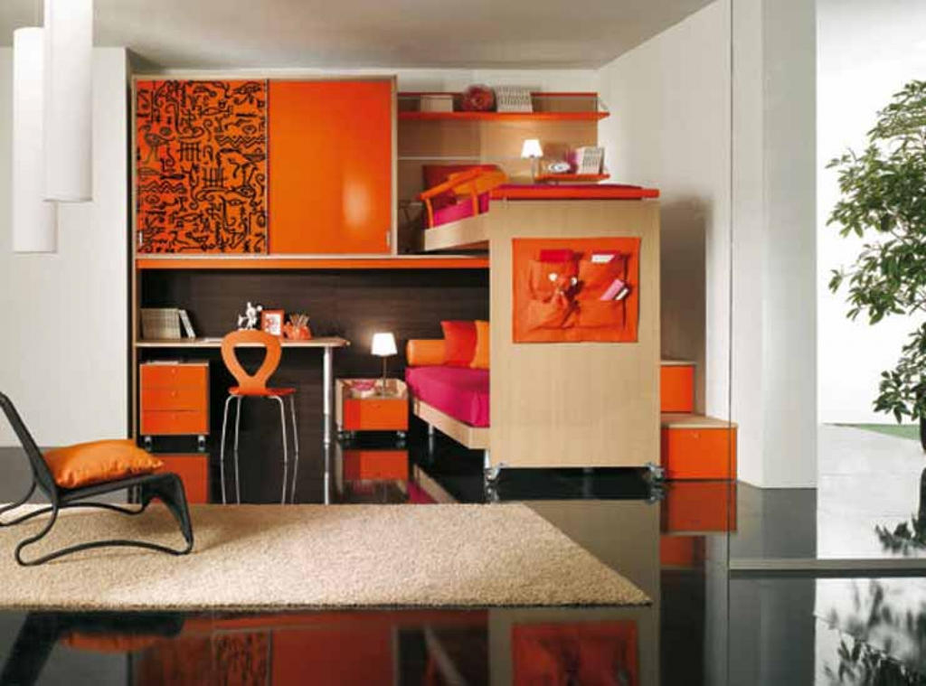 Gilrs-bedroom-walnut-girls-bunk-bedroom-ideas-with by Oceanblue-Art
