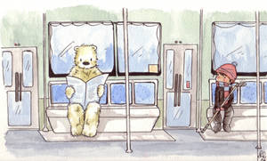A polar bear in the bus