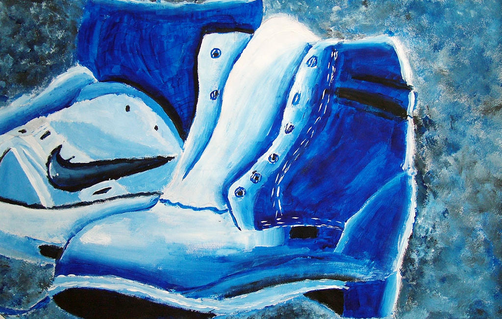 Monochromatic Shoe Painting By MistressDragoness